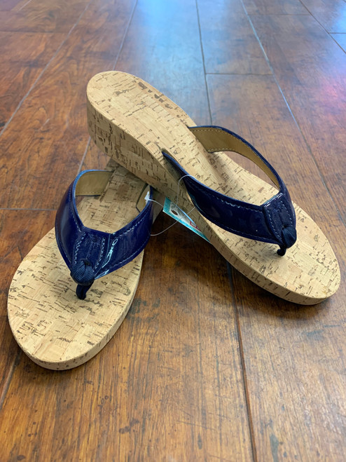 NAVY PATENT SANDAL WITH CORK SOLE BY ELIZA B