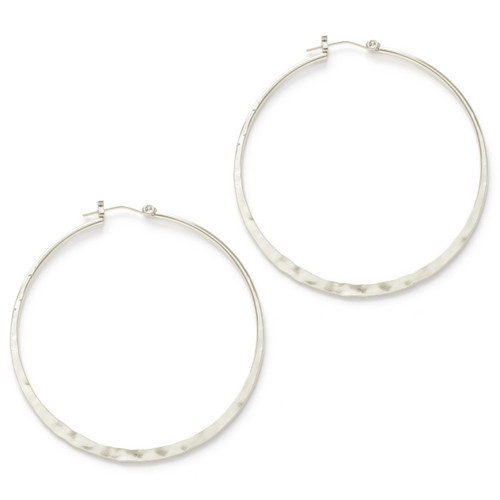 "2"" Hammered Hoops - Silver"