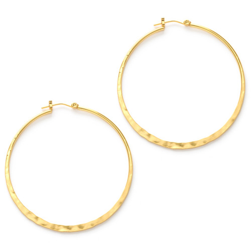 "2"" Hammered Hoops - Gold"
