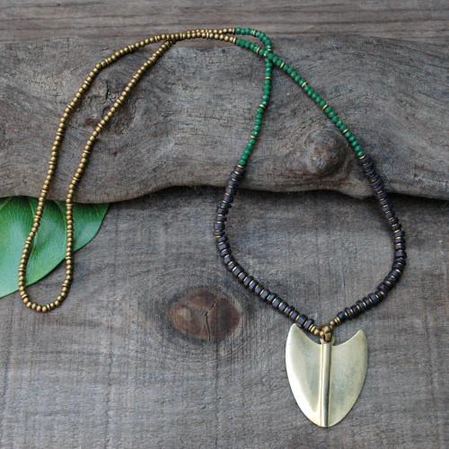 Brass Arrowhead Necklace