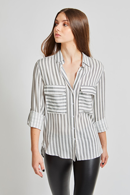 Shadow Striped Top - Black/Ivory