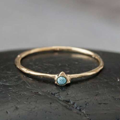 Tiny Turqouise Ring - Gold