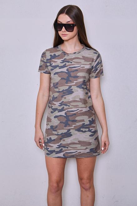 Camo Tee Dress - Olive