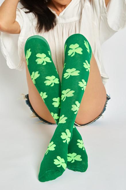 Four Leaf Clover Over Socks - Green