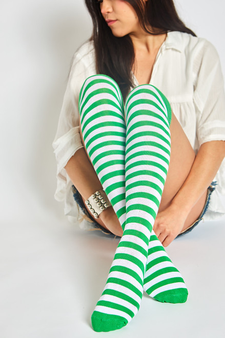 St.  Patty's Day Stripe Socks - Green/Ivory Stripes
