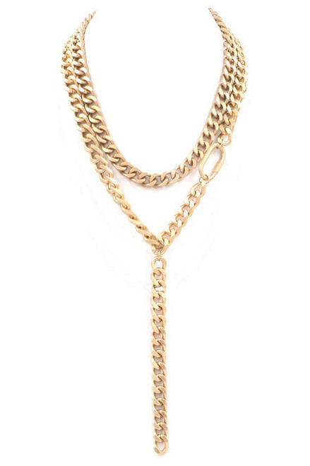 Double Down Necklace - Gold