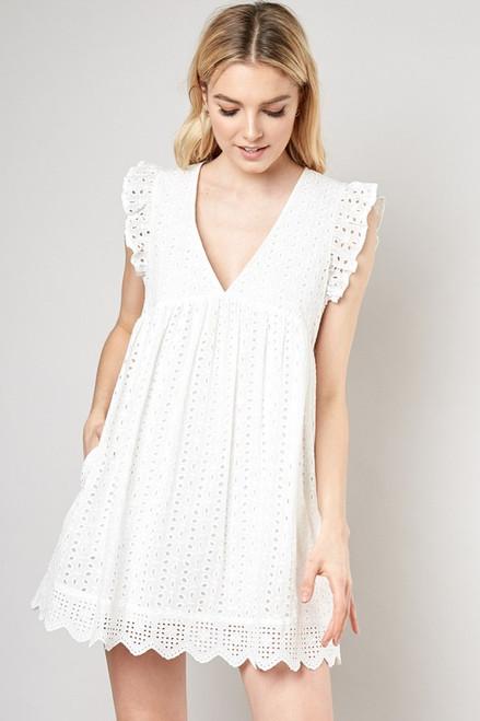 Keep Up Dress/Romper - White