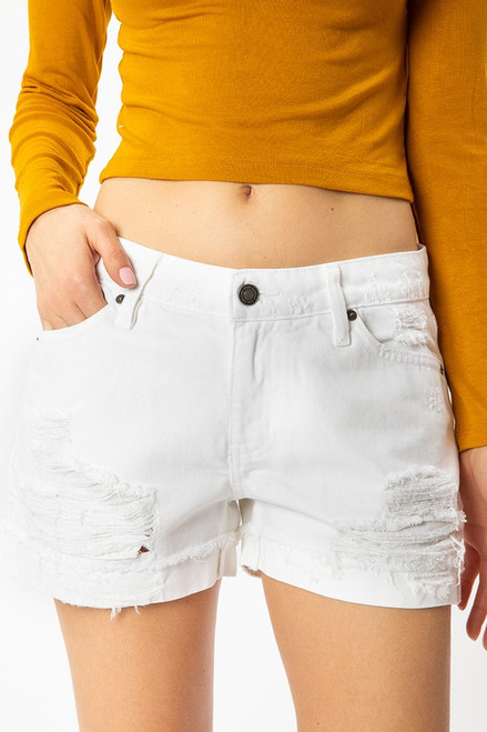 Relaxed Fit White Denim Short