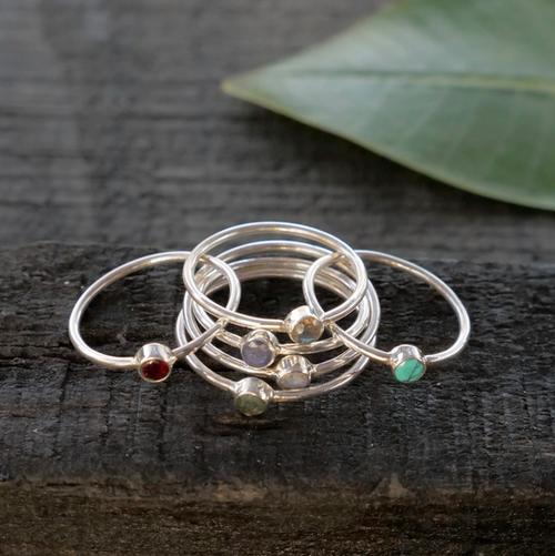 Sterling Silver Semi Precious Stone Rings