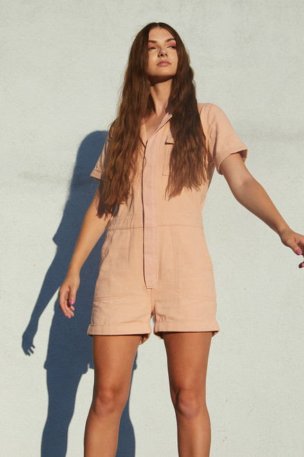 Roll Up Utility Romper - Blush