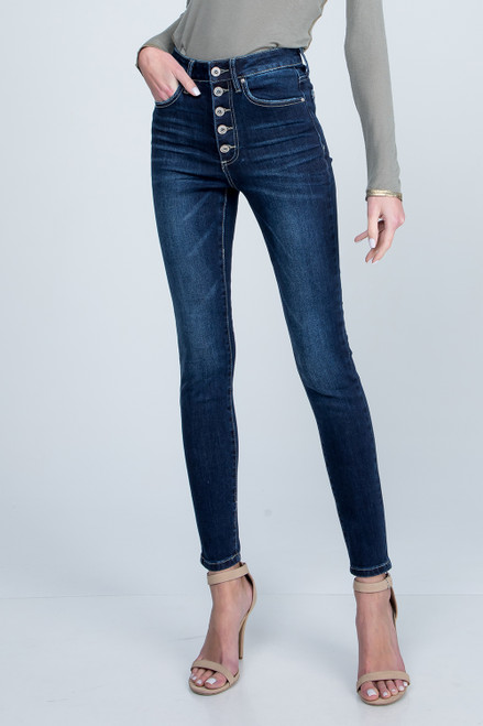 High Rise Buttonfly Skinny - Medium Wash