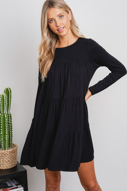 Long Sleeve Tiered Dress - Black