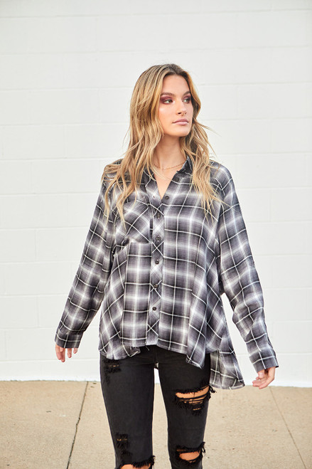 Oversized Plaid Button Up Top - Grey