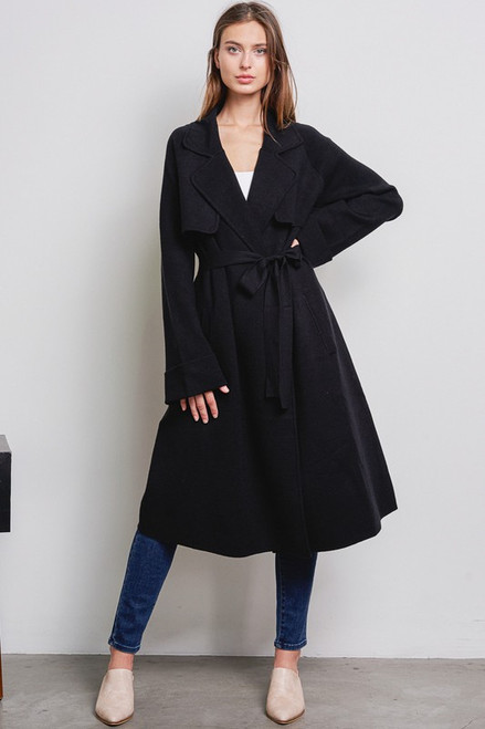 Cashmere Blend Sweater Coat - Black