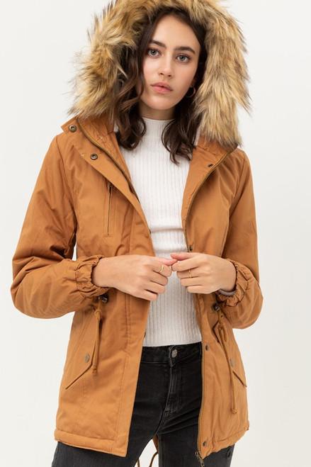 Fur Hoodie Jacket - Camel