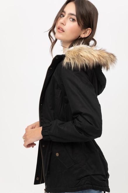Fur Hoodie Jacket - Black