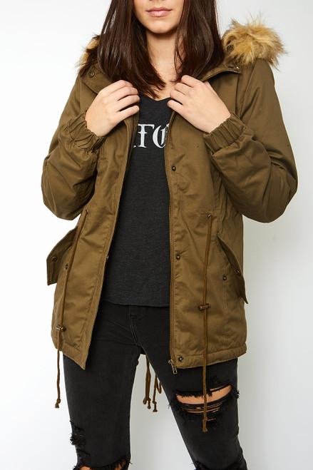 Fur Hoodie Jacket - Olive