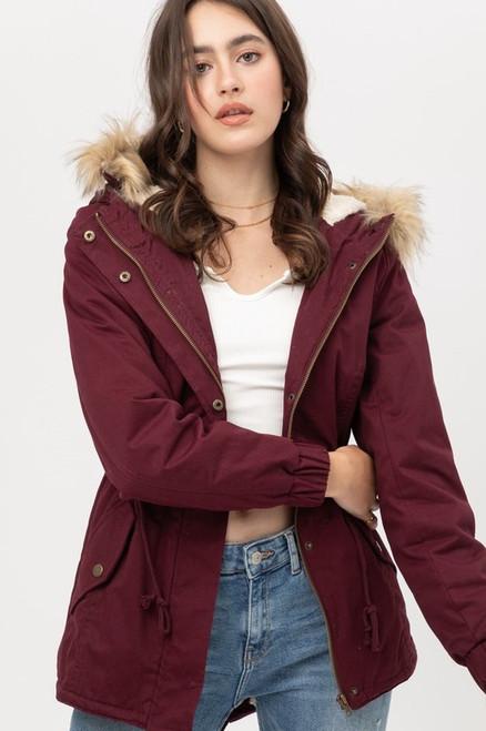 Fur Hoodie Jacket - Wine