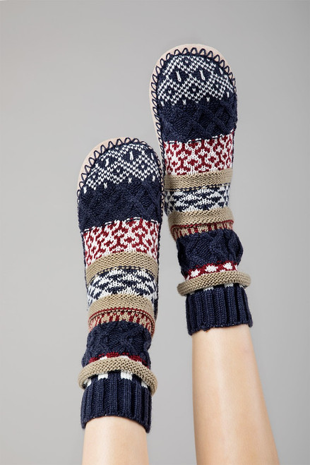 Nordic Knit Slipper - Navy
