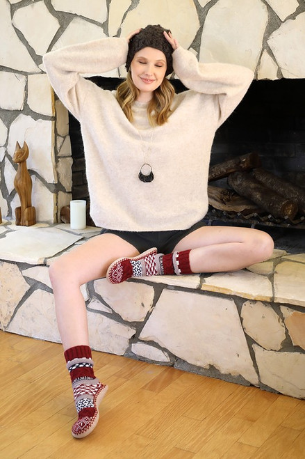 Nordic Knit Slipper - Burgundy