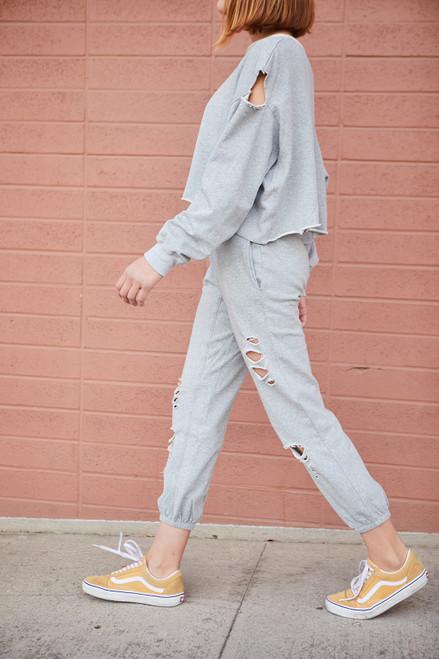 Distressed Joggers - Heather Grey