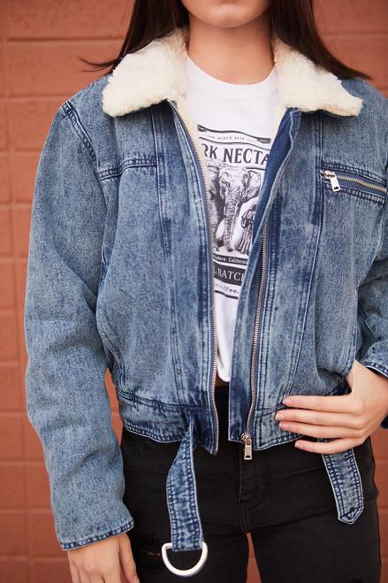 Sherpa Denim Jacket - Blue