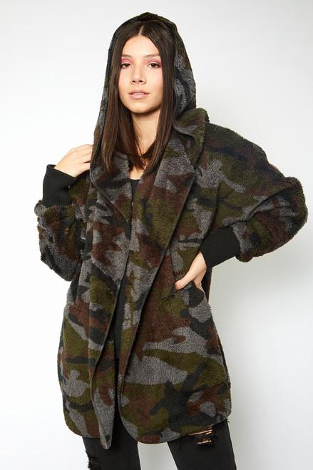Camo Print Fur Jacket