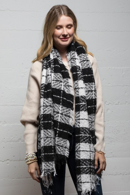 Brushed Plaid Scarf - Black