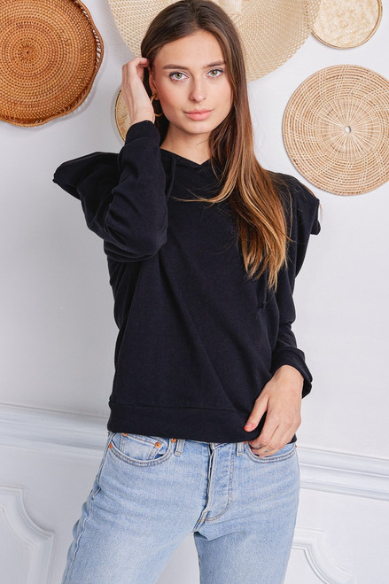 Puff Sleeve Sweatshirt - Black