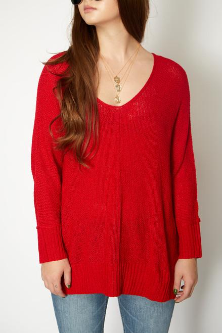 Valentine V Neck Sweater - Red