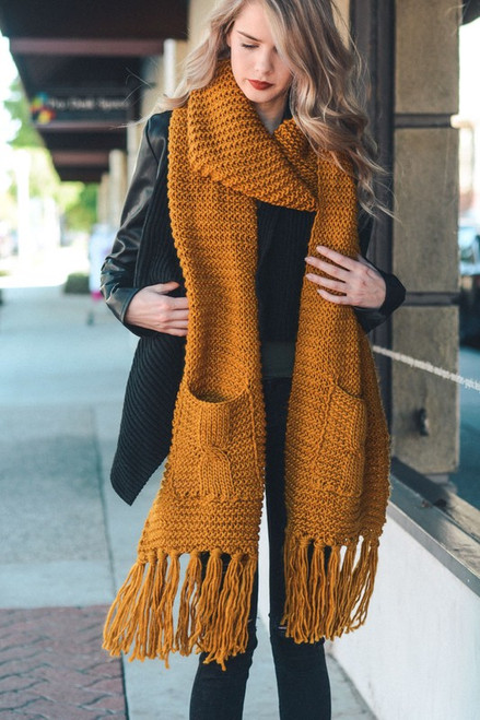 Two Pocket Tassel Scarf - Mustard