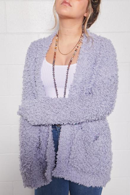 Plush Knit Cardigan - Grey Blue
