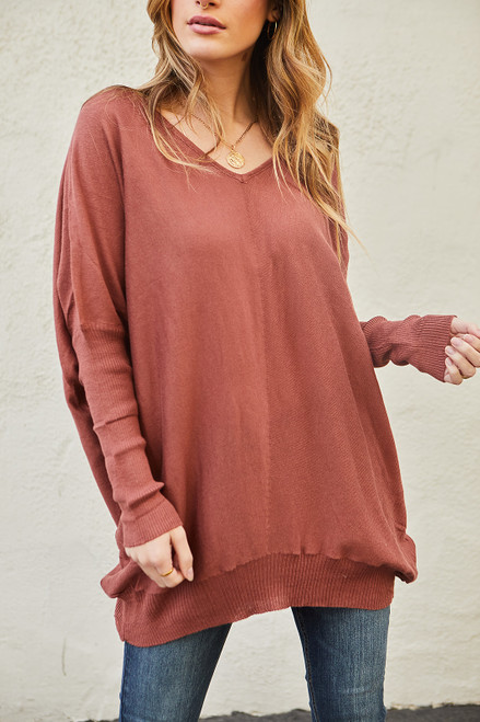 Banded Dolman Top - Rust
