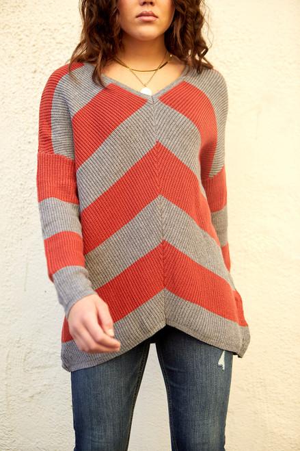 Striped V Sweater - Rust/Grey