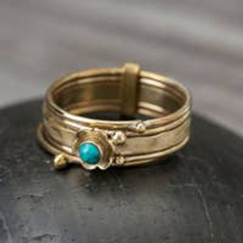 Stacked Turquoise Ring - Brass