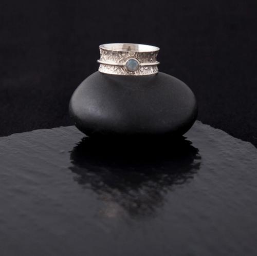 Moonstone Meditation Ring - Sterling Silver