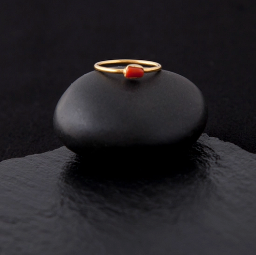 Gold Plated Sterling Silver Coral Ring