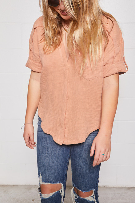 Grunge Cotton Shirt - Mauve