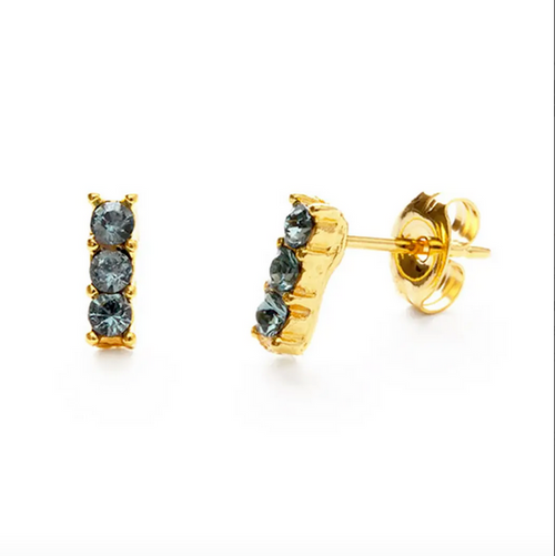 Triple Crystal Studs - Sapphire
