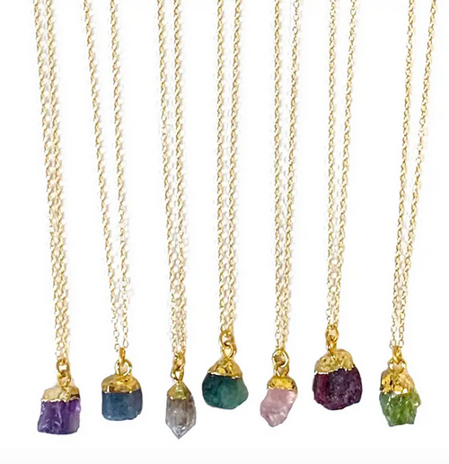 Rough Cut Gem Stone Necklace - Herkimer Diamond