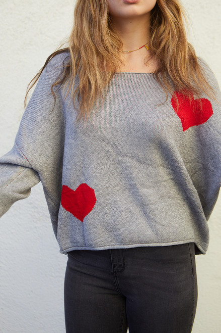 Off the Shoulder Valentines Sweater - Grey