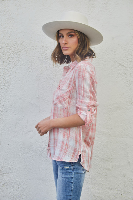 Sweetheart plaid shirt - Papaya