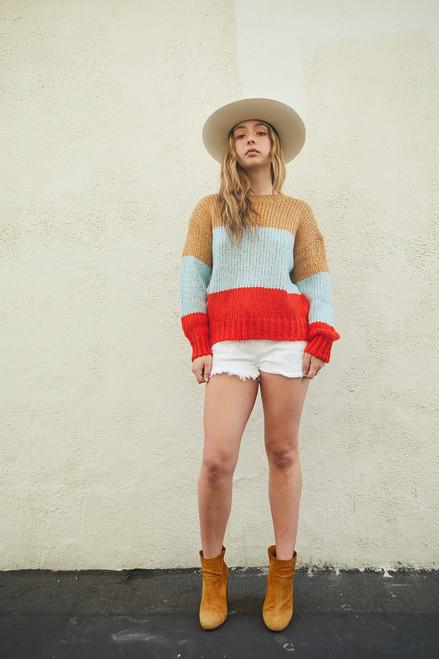 Pop Of Color Sweater - Blue/Camel
