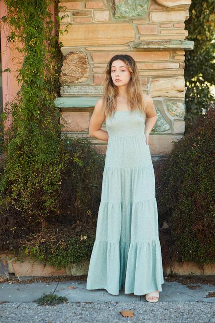 Tiered Linen maxi Dress - Foral Print/Mint