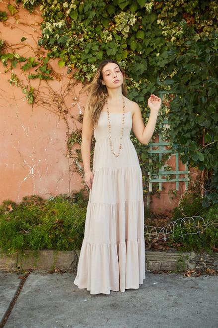 Tiered Linen Maxi Dress - Mauve
