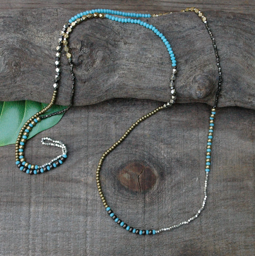 Mixed Metal Beaded Necklace - Turquoise