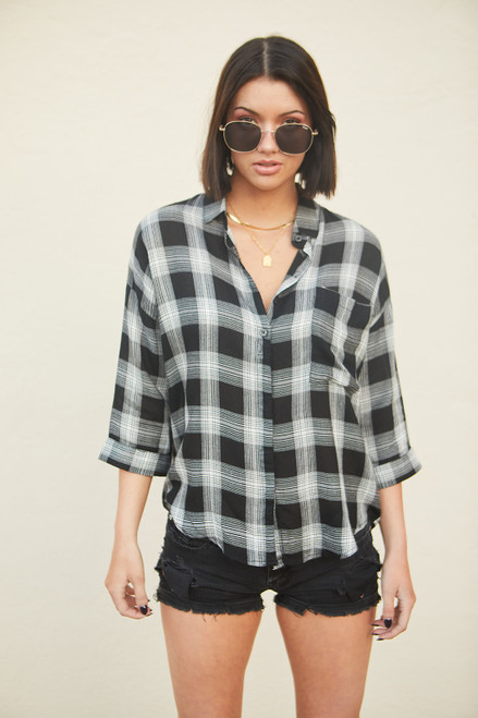 Zappa Plaid Top - Black