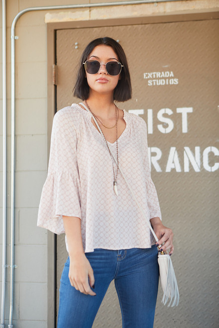 Morrocan Smoked Neck Boho Top - Blush