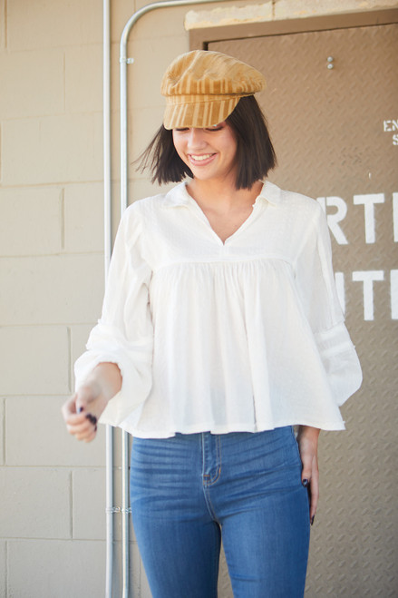 Washed Raw Edge Boho Top - Ivory