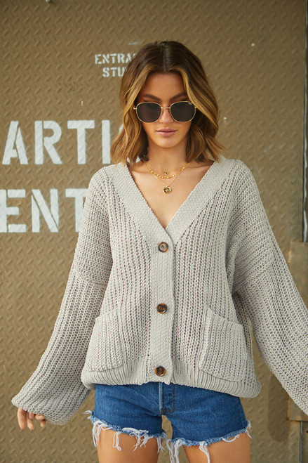 Loose Knit Cardigan - Grey